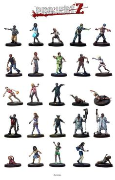 Here are just a few examples of zombies which can be created from the 'Zombie Horde' expansion for Project Z.   The box contains a whole heap of zombies - and countless options to customise and individualise the models, as well as expansion-exclusive game cards.