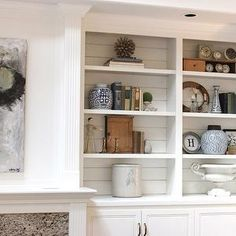Built In Cabinets, Cottage, living room, Benjamin Moore White Dove, Forever Cottage