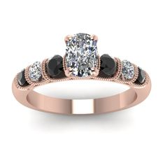 1.25 Ct. Cushion Diamond Milgrain Bar Set Preset Engagement Rings with Black Diamond in 18K Rose Gold exclusively styled by Fascinating Diamonds