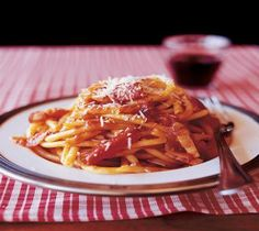 Lidia's Italy: Recipes: Bucatini with Pancetta, Tomato, and Onion