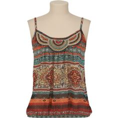 Bead Trim Printed Tank ($26) ❤ liked on Polyvore featuring tops, shirts, tank tops, tanks, brown tank, multi color tops, multi color shirt, brown tank top and colorful tank tops