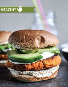 Sweet Potato Burgers with Roasted Garlic Cream and Avocado.