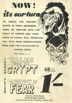 Advertisement for the 2 EC Comics (Tales From The Crypt & Haunt Of Fear) published by Arnold Book Company  (an AB Chiller on the cover) in the UK.