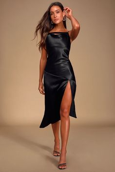 The Pinch Whatever You Want Black Satin Cowl Neck Slip Midi Dress is here to send you on the evening of your dreams! Sexy cowl neck slip midi dress with slit. Black Satin Dress, Black Bodycon Dress, Satin Dresses, Sexy Dresses, Beautiful Dresses, Nice Dresses, Gowns, Elegant Dresses, Fashion Dresses