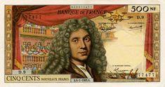 500 Nouveaux Francs France 1959 Molière on front French Franc, Visa Card, Film Director, Vintage Photos, Literature, World, Scientists, Writers, Artists