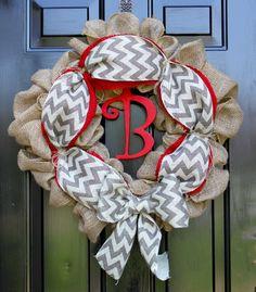 Summer Wreath - Chevron burlap wreath - Chevron-Door Wreath - Wreath for door - Summer Wreath - Spring Wreath - Home Decor -Gift idea via Etsy