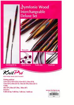 KnitPro Symfonie Wood Interchangeable Circular Knitting Needle Deluxe Set for sale online Knitting Needle Sets, Knitting Kits, Circular Knitting Needles, Interchangeable Knitting Needles, Projects To Try, Wood, Crocheting, How To Make, Crafts