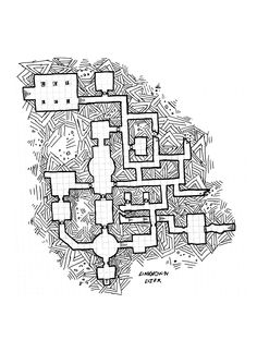 My first try cross hatching .. better :) Rpg Dungeon map ... thanks to dyson logo for his tutorial... rpg dungeon, keep map, by unknown user