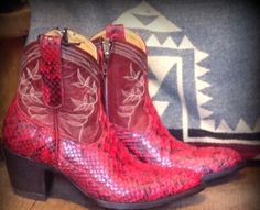 Red Python short boots | Native American Jewellery | Jessie Western