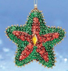 Glistening poinsettia blossoms capture tree lights for extra sparkle in your holiday décor. Set of 3. Sequin ornament kit includes ornament forms, sequins, pins, embellishments shown, and instructions.