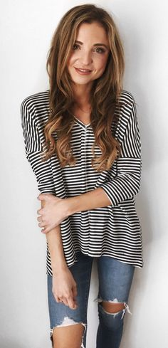 Striped Tee & Destroyed Skinny Jeans