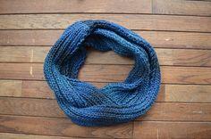 Ombré Blue Knit Scarf by RailroadAndHolly - $60