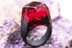 Wooden ring RED Coral Silver GreenWood. Dark in the night.