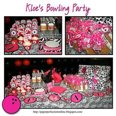 Pink Bowling Party Invitation and Party Printables