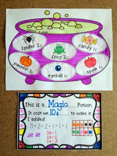 "A ""Room on the Broom"" inspired Halloween Math Craftivity that combines adding money amounts (10¢, 20¢, $1) to create your very own Potion. Makes a stunning bulletin board display! http://www.teacherspayteachers.com/Product/Halloween-Math-Craftivity-Mix-A-Money-Potion-1403510"