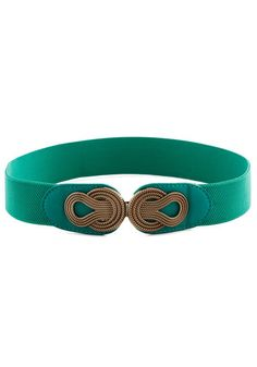 Boldly Buckled Belt in Teal - Woven, Variation, Green, Gold, Top Rated