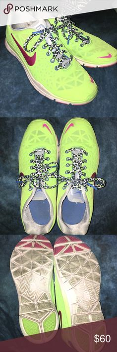 Bright green cheetah lace Nike Free TR Fit 3 Bright green, pink swoosh, cheetah lace, size 8 Nike Free TR Fit 3. Obvious wear but still in excellent condition. Nike Shoes Athletic Shoes