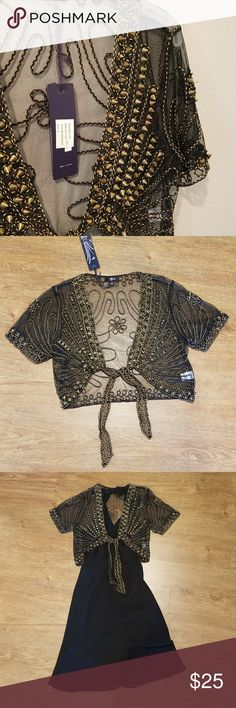 """💕Beautiful Shrug💕 It's black with gold tone embroidery and some sassy spiked beads (must zoom, they're awesome)!! Very unique! So lovely! Wear it as an evening cover up over a pretty dress or a tank and jeans... you will get noticed! Bought at a boutique and never wore it. Still has the tags on it. Back measures 17.5"""" long. (Listing is for shrug only, but while styling it I contemplated keeping it! 😂) Lily Other"""