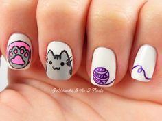Uñas pintadas con gato de Facebook - Facebook cat nails