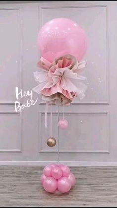 Balloon Crafts, Birthday Balloon Decorations, Balloon Gift, Balloon Centerpieces, Baby Shower Centerpieces, Balloon Garland, Diy Wedding Decorations, Baby Shower Decorations, Balloon Ideas