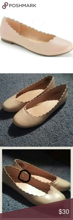 · LC Lauren Conrad · The scalloped upper gives these women's LC Lauren Conrad ballet flats graceful style. Shoe Features Scalloped upper Shoe Construction Manmade upper & lining TPR outsole Shoe Details Round toe Slip-on Padded footbed Size: 8  I have worn these 2x. There is a flaw inside the shoe as shown in the 3rd photo. Other than that they look great. No stains.  The flats are a blush pink/nude color. LC Lauren Conrad Shoes Flats & Loafers