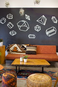 Geometric wall + southwest decor - washi tape DIY