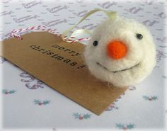 Snowman Felted Decoration Needle Felted Sparkly Snow Man Face Christmas Tree Hanging Bauble Ornament
