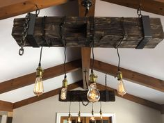 Beam and Hardware Antique Light Bulbs, Antique Light Fixtures, Barn Wood Projects, Edison Lighting, Vintage Lighting, Chandeliers, Beams, David, Hardware