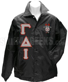 FRAT LINE JACKET with GREEKS and CREST...In black @$79.00 standard...However it is completely customizable to your specifications ( with cost increased accordingly) order yours today..SAYGENT my Frat Brothers Andre K. Scott