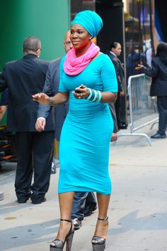 TRUE BLUE: India Arie is spotted by fans and photographers as she leaves the set of Good Morning America in New York City. (SPLASH)