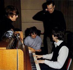 """Make Music"" John Lennon, George Harrison, George Martin, Paul McCartney John Lennon, Ringo Starr, George Harrison, Paul Mccartney, Great Bands, Cool Bands, Rock N Roll, Liverpool, George Martin"