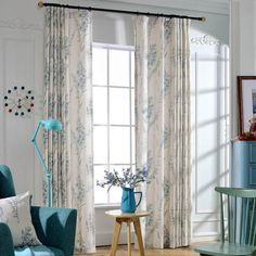Linen Teal Blue Sage Curtains 2 Panel Drapes