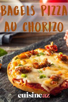 Faciles, rapides et pas chers ces bagels pizza au chorizo. #recette#cuisine#facile#rapide#bagel#pizza#chorizo Mozzarella, Sauce Tomate, Bagels, Hawaiian Pizza, Table, Food, Gourmet, Pizza, Easy Cooking
