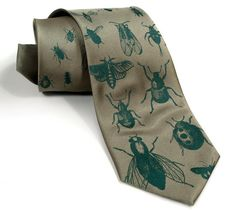 "Bug tie. Silkscreened insect pattern men's necktie, dark emerald print on sage green. ""Bugger Off."" Choose standard, narrow or skinny on Etsy, $30.00"