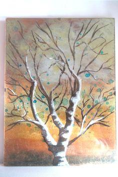 """""""arbre"""", peinture sur verre inversé"""