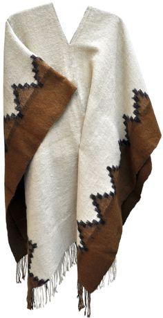 Poncho Quetena Claro- 100% lana rústica de llama - Caserita.com Bolivia