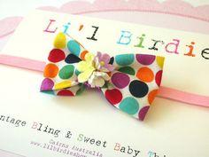 Newborn Small Polka Dot Bow Headband Baby Toddler Child Hair Accessory  @Simone Lubbe kal needs this!!!