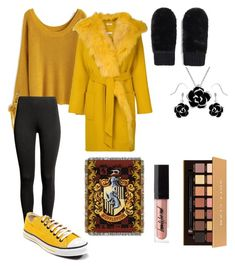 """Hufflepuff winter"" by dancershoes on Polyvore featuring Chicwish, Converse, P.A.R.O.S.H., Forever 21, Anastasia Beverly Hills and Warner Bros."