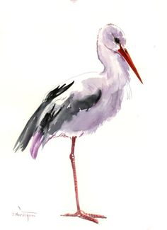 White Stork, Original watercolor painting, bird lover art, birds, stork painting by ORIGINALONLY on Etsy #watercolorarts