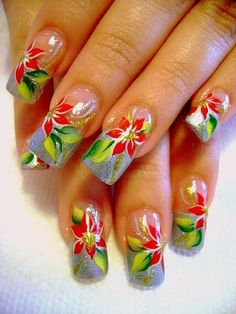 uñas navideñas - Bing Imágenes Simple Nail Art Designs, Beautiful Nail Designs, Beautiful Nail Art, Gorgeous Nails, Christmas Gel Nails, Holiday Nail Art, Christmas Nail Designs, Judy Nails, Nail Noel