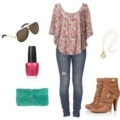 Polyvore. Love the boots, jeans and top