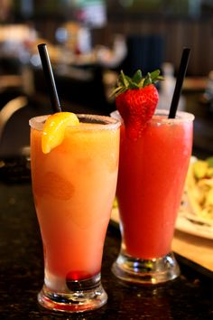 Strawberry and peach margaritas from Jose Pepper's. Yum!