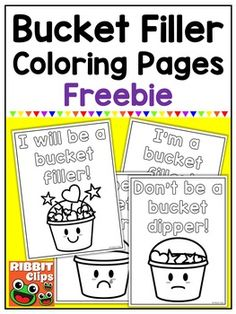 Promote kindness in the classroom and encourage your students to fill someone's bucket! Enjoy these free coloring pages to use with your bucket filler activities! The bucket clipart used in the creation of these printable pages is available at Ribbit Clips.