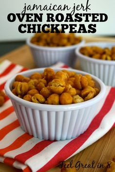 Oven Roasted Chickpeas - these make a delicious healthy, easy snack loaded with protein and fiber! Feel Great in 8
