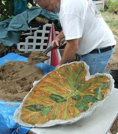 Un-Be-Leaf-ables :: Hometalk   How to Make Cement leaves.- some beautiful examples