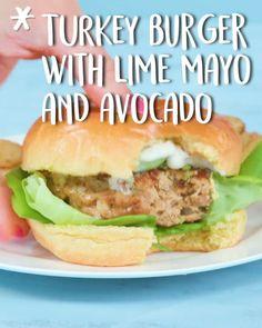 Turkey Burger With Lime Mayo And Avocado -Tasty - Food Videos And Recipes Turkey Burger Recipes, Meat Recipes, Chicken Recipes, Cooking Recipes, Healthy Recipes, Turkey Dishes, Turkey Leftovers, Tasty, Snacks