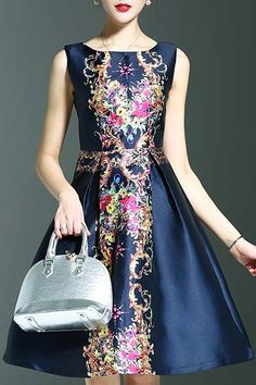 Wordeyige Deep Blue Elegant Printed Round Neck Sleeveless Dress | Knee Length Dresses at DEZZAL
