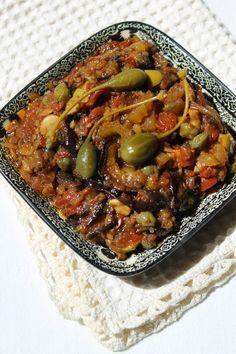 Caponata de berinjela no siciliano Sicilian Caponata Recipe, Antipasto, Vegetarian Recipes, Healthy Recipes, Relleno, Appetizer Recipes, Soup Appetizers, Italian Recipes, Carne