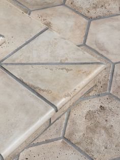 Artillo tile in the color: bone with Vintage texture creates the dimensional space the homeowner was looking for in this SoCal patio remodel. Patio Tiles, Spanish Tile, Hexagon Tiles, Hexagons, Tile Design, Tile Floor, Texture, Space, Detail