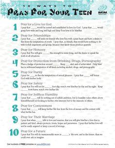 10 Ways to Pray For Your Teen Printable | iMOM